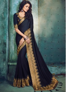 Contrast Border Saree With Fancy Blouse Piece