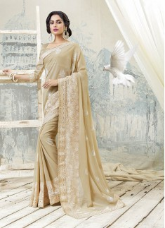 Cream Color Saree With Resham Work And Skirt Borde Style