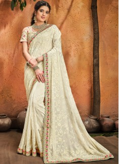 Cream Pure Georgette Saree With Lukhnowi Heavy Work ,Moti & Cut-Dana Heavy Work Including Heavy Work Blouse Piece