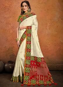 Cream Pure Satin Saree With Mirror,Resham & Zarkan Heavy Work Including Contrast Heavy Work Blouse Piece