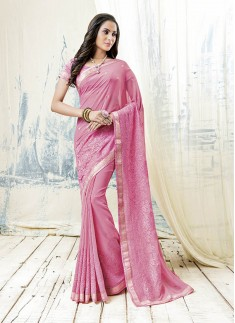 Cross Stitch Work Saree With Pink Color And Georgette Material
