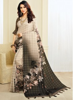 Dazzling Digital print saree With Light Work