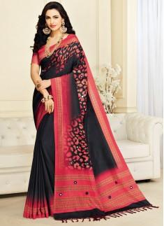 Dazzling Digital print saree With Light Work
