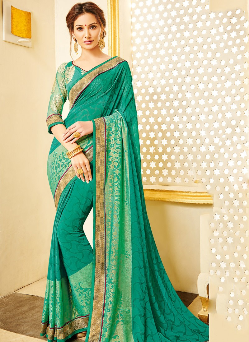 d55ff7545a754 Dazzling Self Print Saree With Fancy Blouse Piece