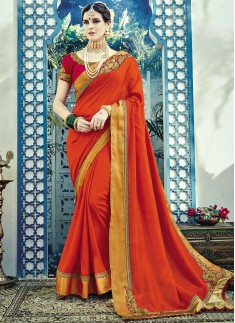 Dazzling Soft Silk Saree With Contrast heavy Blouse