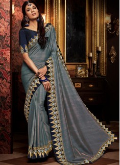 Decent Border Saree With Contrast Blouse Piece