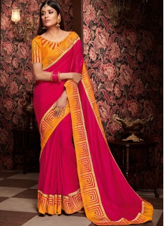 Decent Border Saree With Contrast Heavy Blouse