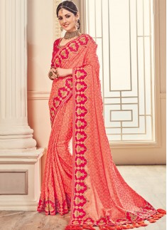 Decent Contrast Border Saree with Heavy Blouse