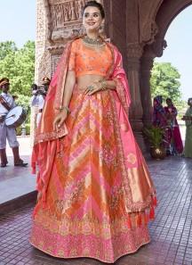 Decent Look Banarasi Silk Lehenga Choli With Jari Weaing