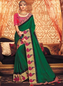 Decent Look Border Saree With Contrast Heavy Work Blouse Piece