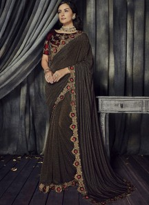 Decent Look Flower Cutwork Border And Contrast Blouse