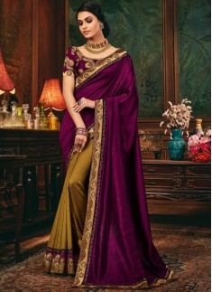 Decent Look Half N Half Style Saree With Contrast