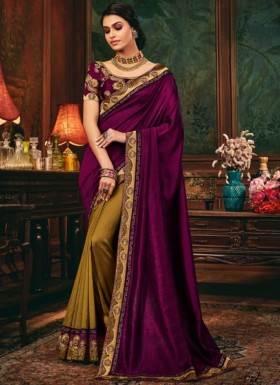 Decent Look Half N Half Style Saree With Contrast Heavy Work Blouse Piece