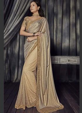 Decent Look Imported Laikra pallu With Net Diamond Work