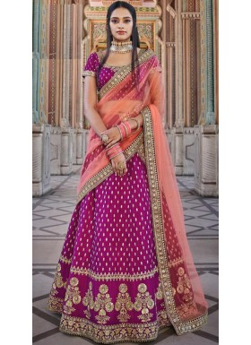 Decent Look Lehenga Choli With Unique Simple Work And Contrast Dupatta