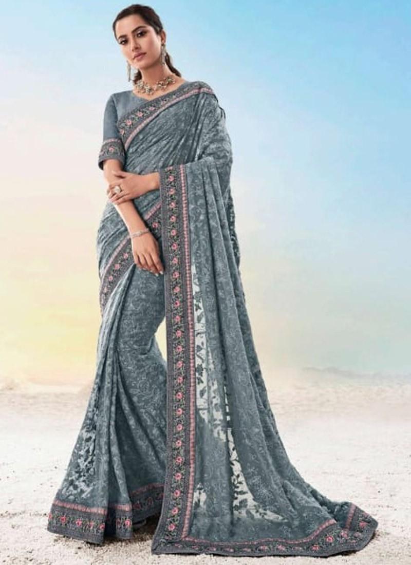 Decent Look Lukhnavi Work Saree With Elegant Work Border