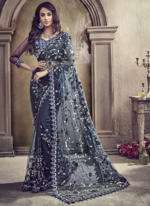 Decent Look Net Saree With Cut Work Border And Heavy Work Blouse Piece