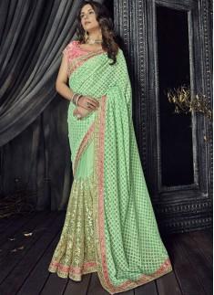 Decent look Pure Luknovi Pallu With Gota Patti Skirt