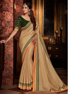 Decent Look Saree With Contrast Blouse Piece