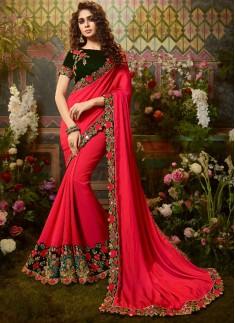 Decent Look Silk Fabric Saree With Contrast Fancy