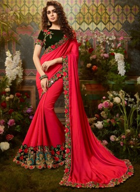 Decent Look Silk Fabric Saree With Contrast Fancy Blouse Piece
