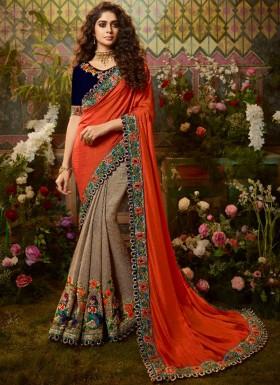 Decent Look Silk Fabric Saree With Fancy Blouse Piece