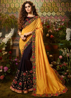 Decent Look Silk Fabric Saree With Fancy Blouse Piece