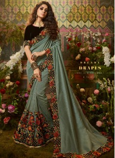 Decent Look Silk Fabric Saree With Fancy Contrast Blouse Piece