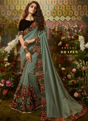 Decent Look Silk Fabric Saree With Fancy Contrast Blouse Piece