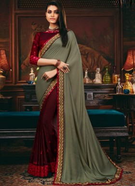Decent Look Weaving Saree With Contrast Heavy Work Blouse Piece
