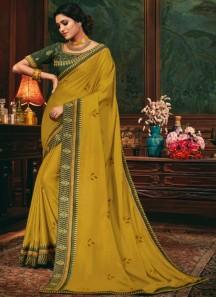 Decent Look Weaving Saree With Contrast Heavy Work Blouse Piece