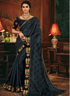 Decent Look Weaving Saree With Contrast Heavy Work