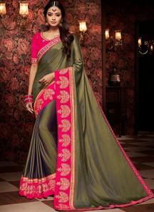 Decent Saree With Contrast Heavy Blouse Piece