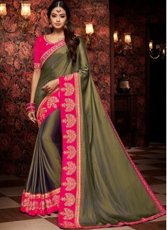 Decent Saree With Contrast Heavy Blouse Piece