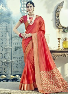 Decent Short Heavy Pallu With Small Golden Border