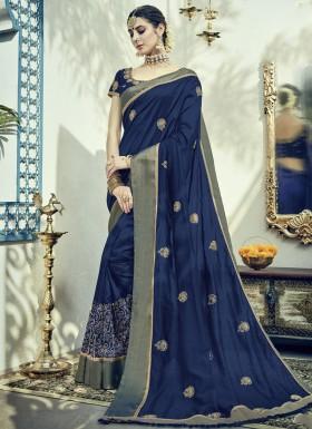Decent Soft Silk Saree With Zari Work Butta And Heavy Blouse