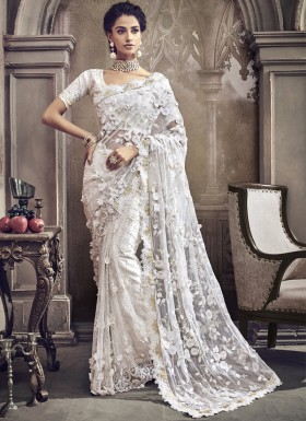 Decent White Saree With Cut Work Border And Heavy Work Blouse Piece