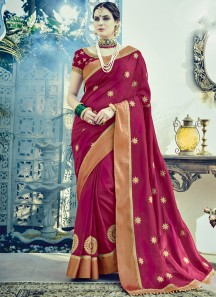 Decent Zari Work Butta Saree With Heavy Work Blouse