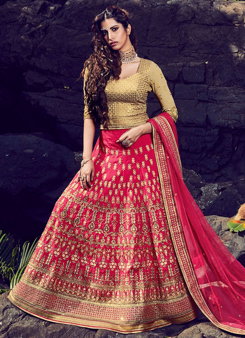 1dc79f08f6 Deserving Hot Pink Art Silk Lehenga Choli
