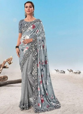 Designer Cutwork Border Saree With Half And Half Style Including Fancy Blouse Piece