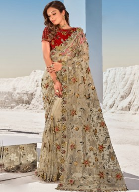 Designer Digital Net Saree With Contrast Heavy Blouse Piece
