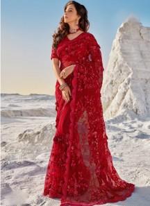 Designer Digital Net Saree With Heavy Blouse Piece