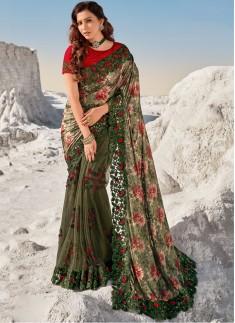 Designer Imported Print Pallu,Digital Net Skirt With Heavy Blouse Piece