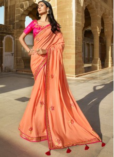 Designer Light Work Saree With Contrast Work Blouse Piece