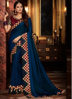 Designer Look Saree With Contrast Heavy Blouse Piece