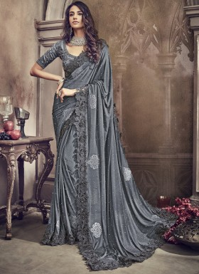 Designer Saree With Cut Work Border And Heavy Work Blouse Piece