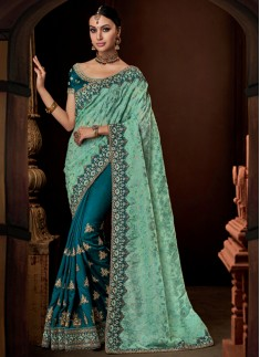 Designer Saree with decent Border And Contrast Blo
