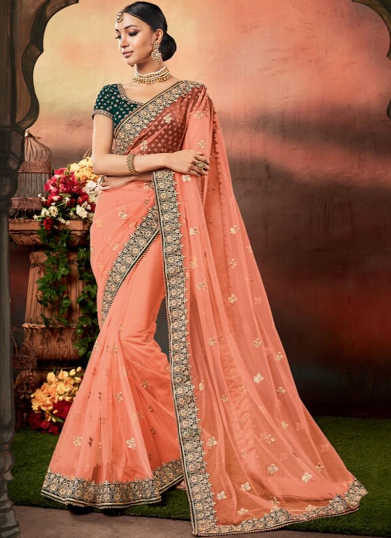 Designer Saree with decent Border And Contrast Blouse Piece