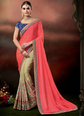 Designer Saree with decent Border And Contrast Blouse Piece
