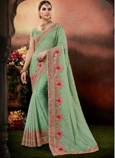 Designer Saree with decent Border And Heavy Work Blouse Piece